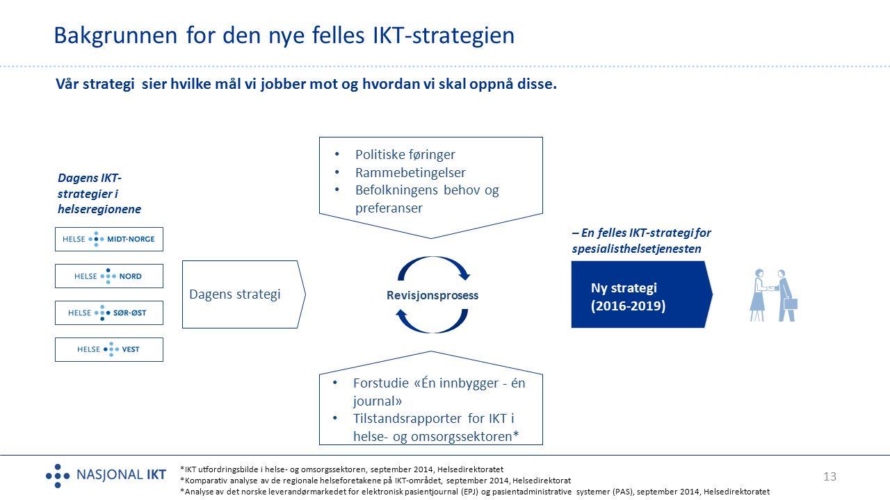 13 Bakgrunnen for den nye felles IKT-strategien Vår strategi sier hvilke mål vi jobber mot og hvordan vi skal oppnå disse.