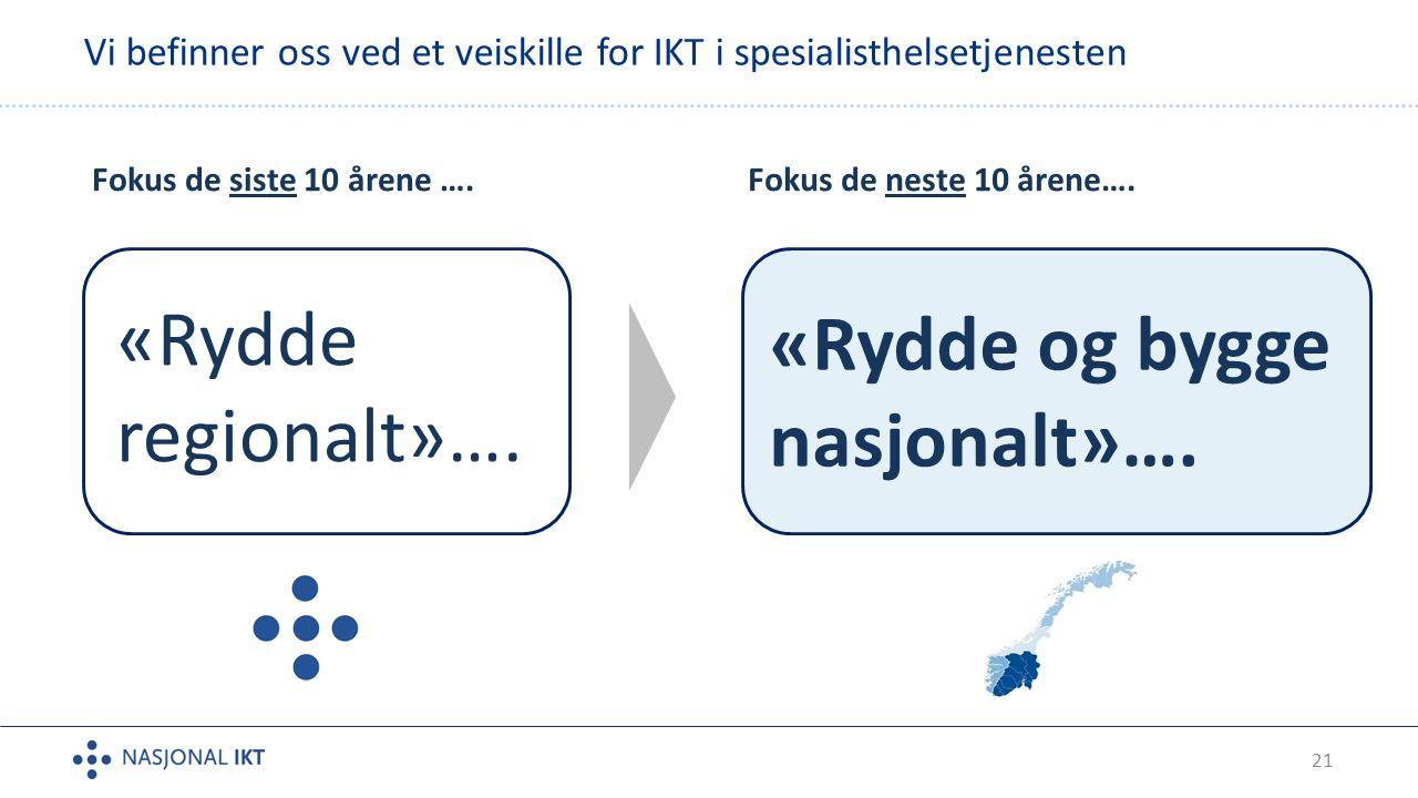 21 Vi befinner oss ved et veiskille for IKT i spesialisthelsetjenesten Fokus de siste 10 årene ….