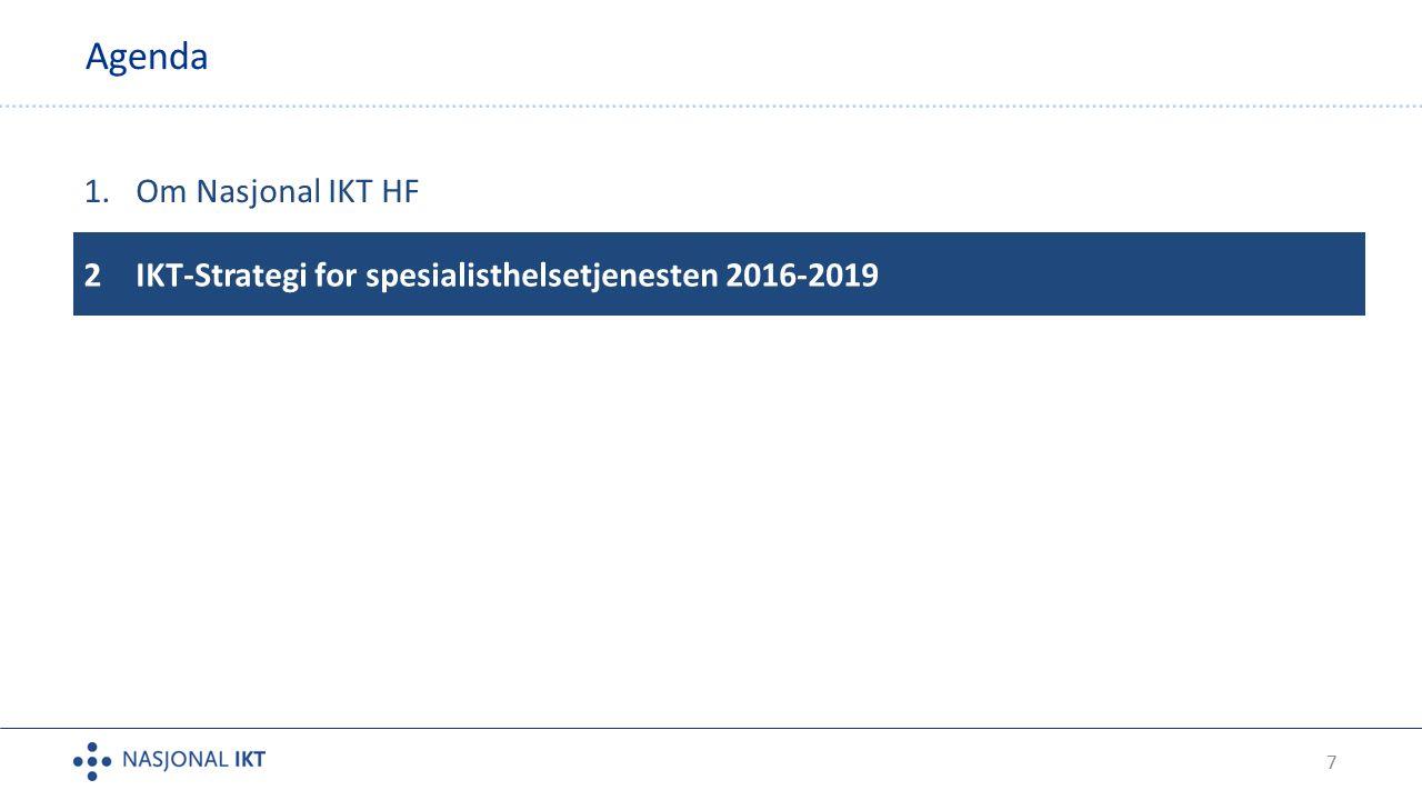 7 Agenda 1.Om Nasjonal IKT HF 2IKT-Strategi for spesialisthelsetjenesten 2016-2019