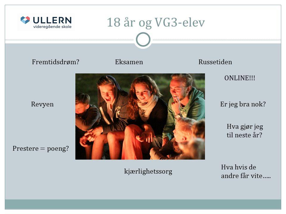 18 år og VG3-elev Fremtidsdrøm EksamenRussetiden Revyen kjærlighetssorg Prestere = poeng.