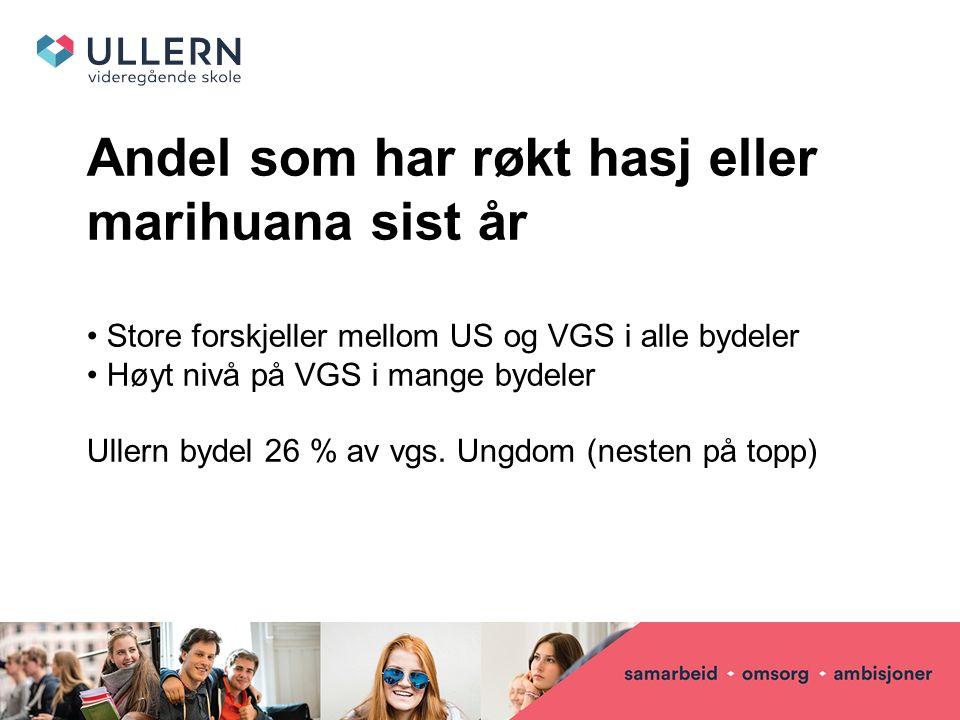 Andel som har røkt hasj eller marihuana sist år Store forskjeller mellom US og VGS i alle bydeler Høyt nivå på VGS i mange bydeler Ullern bydel 26 % av vgs.