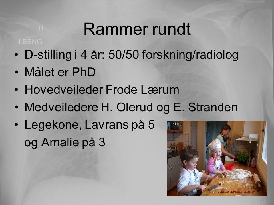 Rammer rundt D-stilling i 4 år: 50/50 forskning/radiolog Målet er PhD Hovedveileder Frode Lærum Medveiledere H. Olerud og E. Stranden Legekone, Lavran