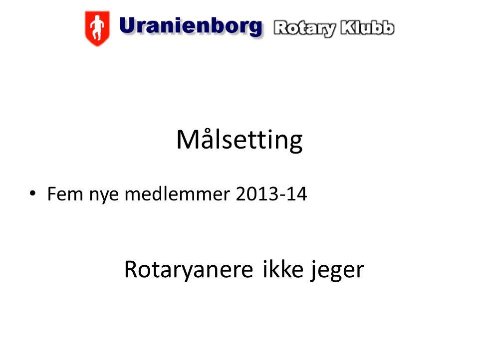 Målsetting Fem nye medlemmer 2013-14 Rotaryanere ikke jeger
