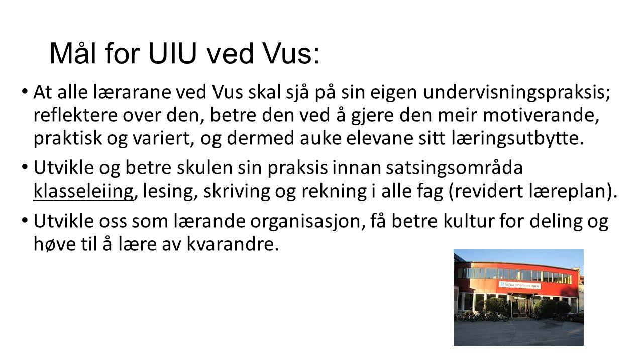Mål for UIU ved Vus: At alle lærarane ved Vus skal sjå på sin eigen undervisningspraksis; reflektere over den, betre den ved å gjere den meir motiverande, praktisk og variert, og dermed auke elevane sitt læringsutbytte.