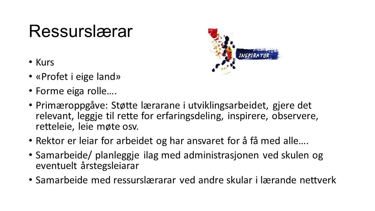 Ressurslærar Kurs «Profet i eige land» Forme eiga rolle….