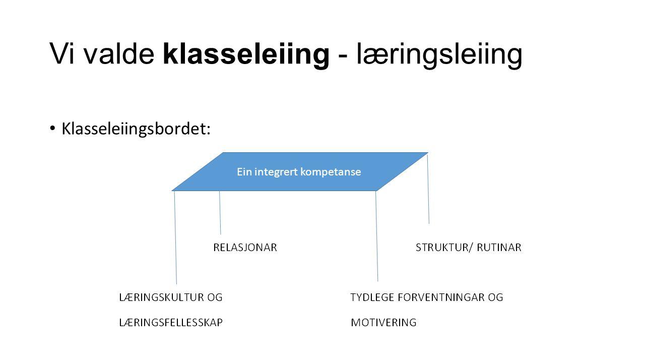 Vi valde klasseleiing - læringsleiing Klasseleiingsbordet: Ein integrert kompetanse