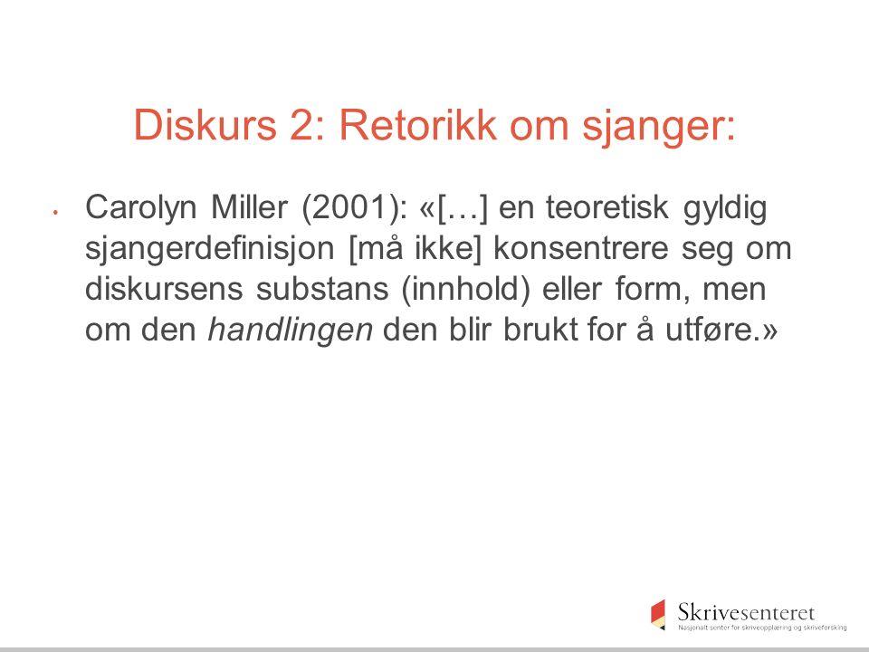 Diskurs 2: Retorikk om sjanger: Carolyn Miller (2001): «[…] en teoretisk gyldig sjangerdefinisjon [må ikke] konsentrere seg om diskursens substans (innhold) eller form, men om den handlingen den blir brukt for å utføre.»
