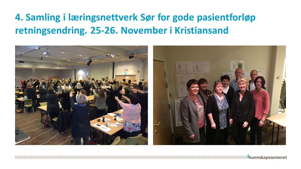 4. Samling i læringsnettverk Sør for gode pasientforløp retningsendring.