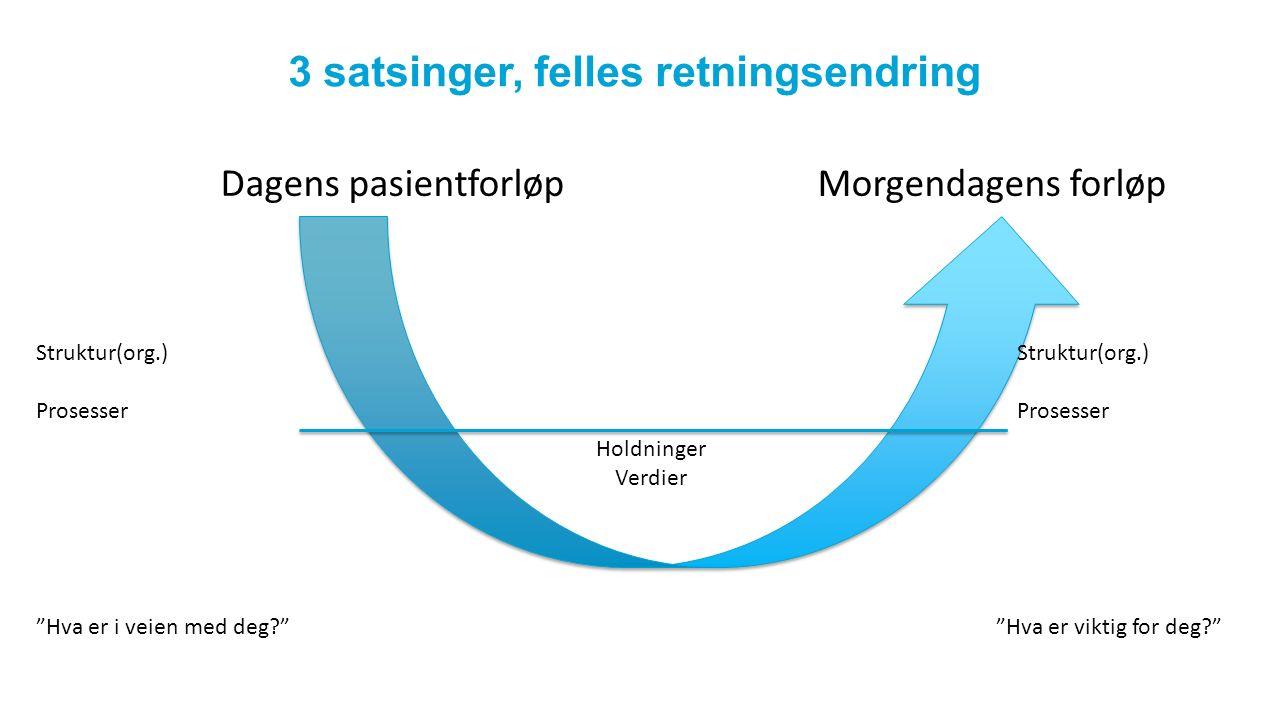3 satsinger, felles retningsendring Dagens pasientforløp Morgendagens forløp Struktur(org.) Prosesser Struktur(org.) Prosesser Holdninger Verdier Hva er i veien med deg Hva er viktig for deg