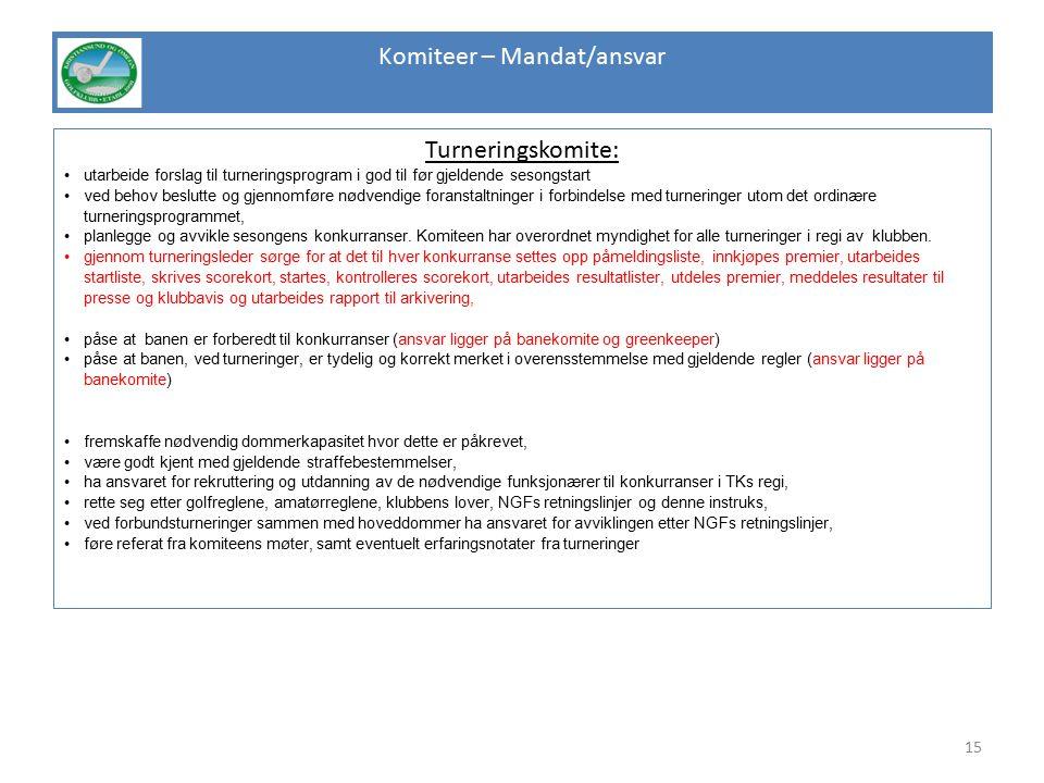 Komiteer – Mandat/ansvar Turneringskomite: utarbeide forslag til turneringsprogram i god til før gjeldende sesongstart ved behov beslutte og gjennomfø