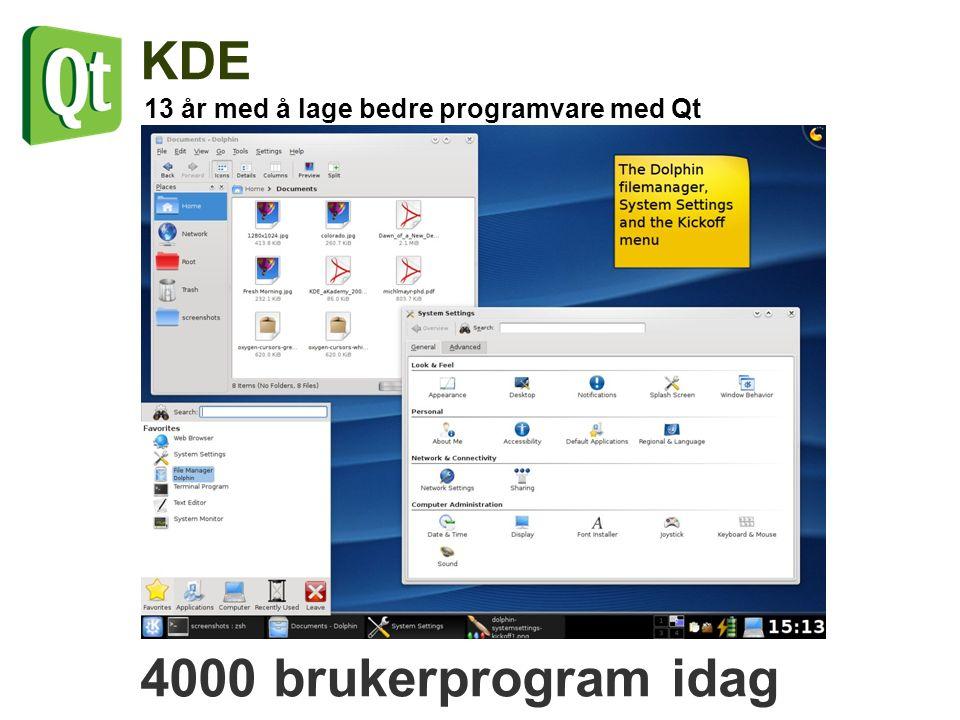 13 år med å lage bedre programvare med Qt KDE 4000 brukerprogram idag