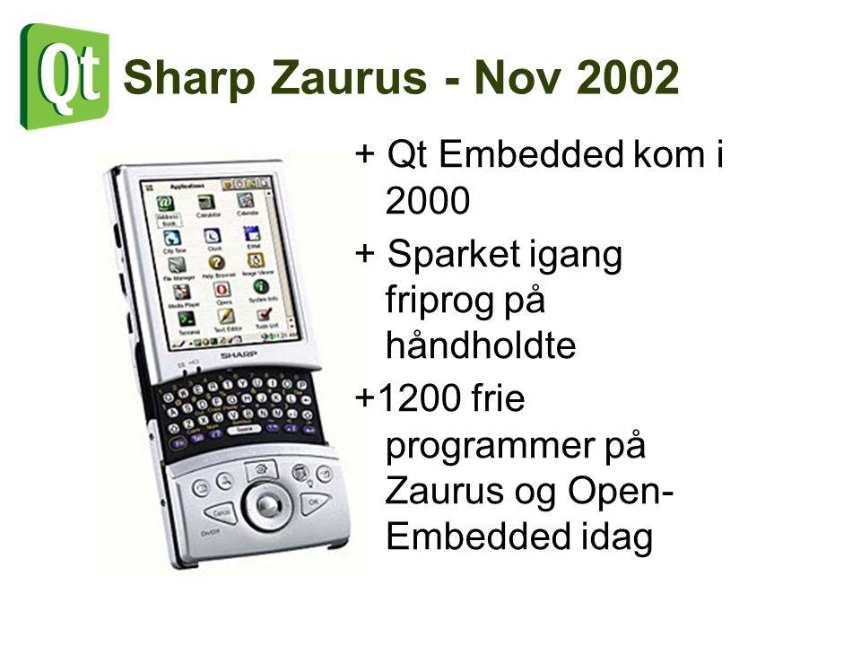 Sharp Zaurus - Nov 2002 + Qt Embedded kom i 2000 + Sparket igang friprog på håndholdte +1200 frie programmer på Zaurus og Open- Embedded idag