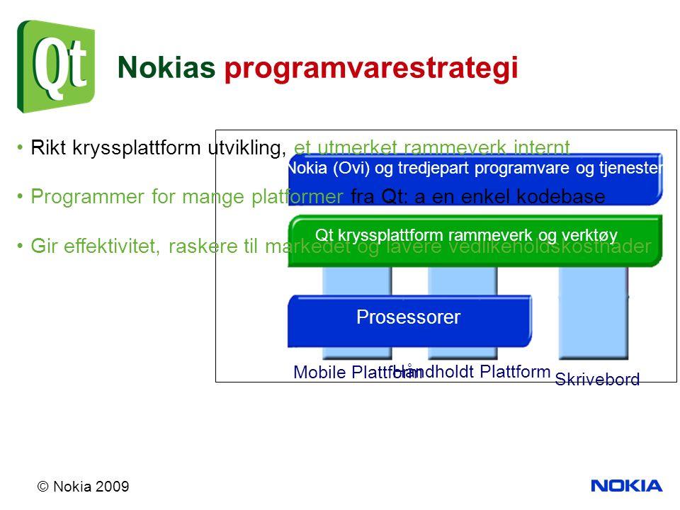 © Nokia 2009 Rikt kryssplattform utvikling, et utmerket rammeverk internt Programmer for mange platformer fra Qt: a en enkel kodebase Gir effektivitet, raskere til markedet og lavere vedlikeholdskostnader Nokia (Ovi) og tredjepart programvare og tjenester Qt kryssplattform rammeverk og verktøy Håndholdt Plattform Skrivebord Prosessorer Mobile Plattform Nokias programvarestrategi