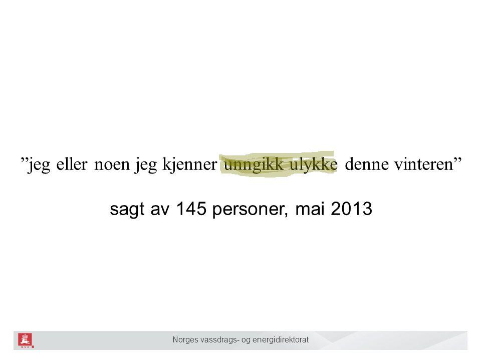 Norges vassdrags- og energidirektorat jeg eller noen jeg kjenner unngikk ulykke denne vinteren sagt av 145 personer, mai 2013