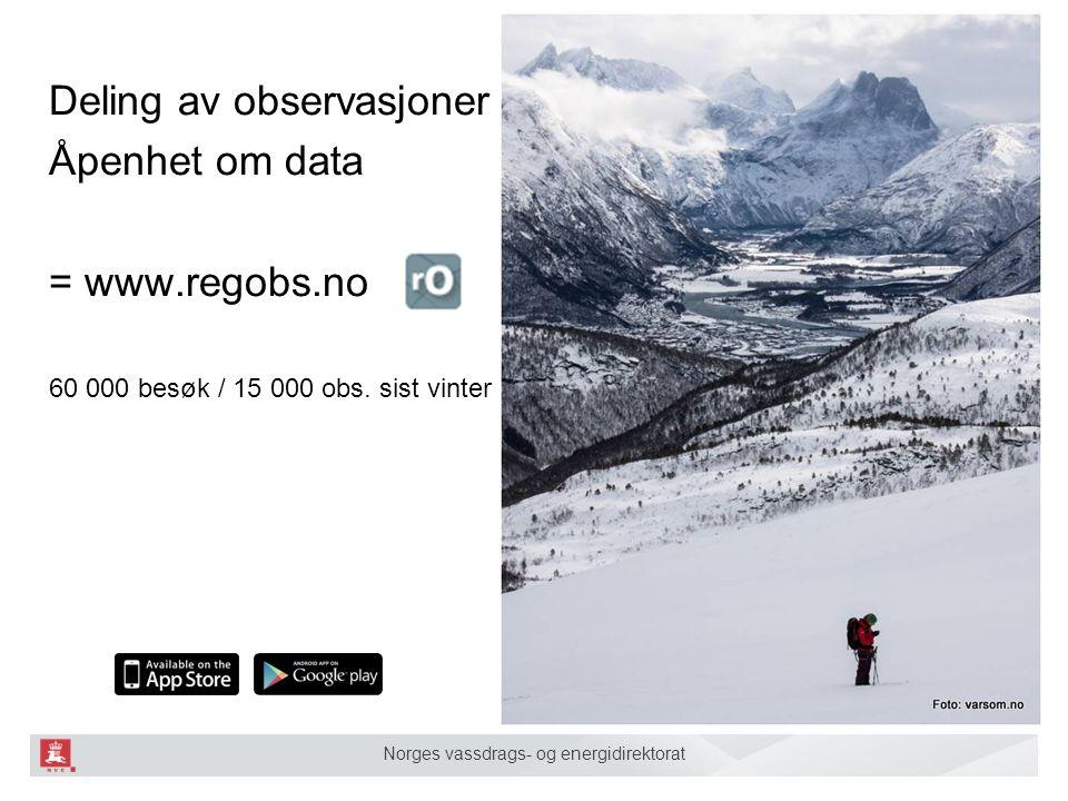 Norges vassdrags- og energidirektorat Deling av observasjoner Åpenhet om data = www.regobs.no 60 000 besøk / 15 000 obs.