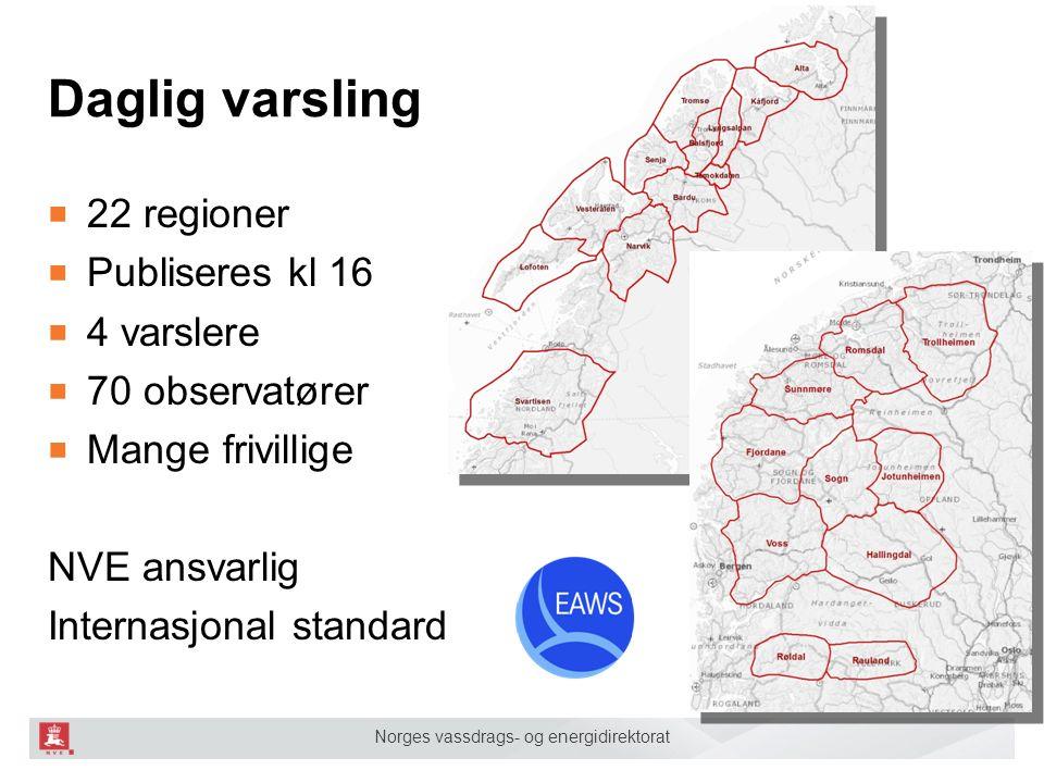 Norges vassdrags- og energidirektorat Daglig varsling ■ 22 regioner ■ Publiseres kl 16 ■ 4 varslere ■ 70 observatører ■ Mange frivillige NVE ansvarlig Internasjonal standard