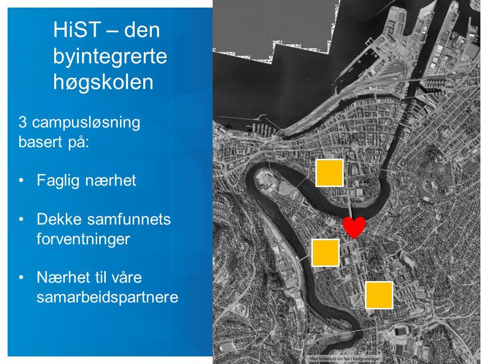 HiST – den byintegrerte høgskolen 3 campusløsning basert på: Faglig nærhet Dekke samfunnets forventninger Nærhet til våre samarbeidspartnere
