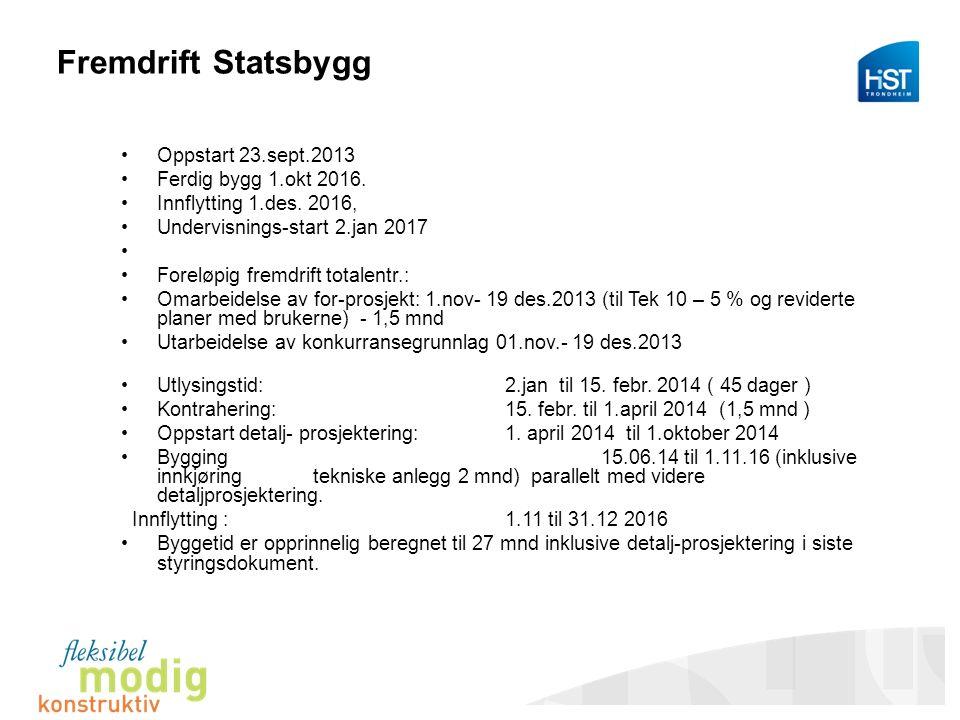 Fremdrift Statsbygg Oppstart 23.sept.2013 Ferdig bygg 1.okt 2016.
