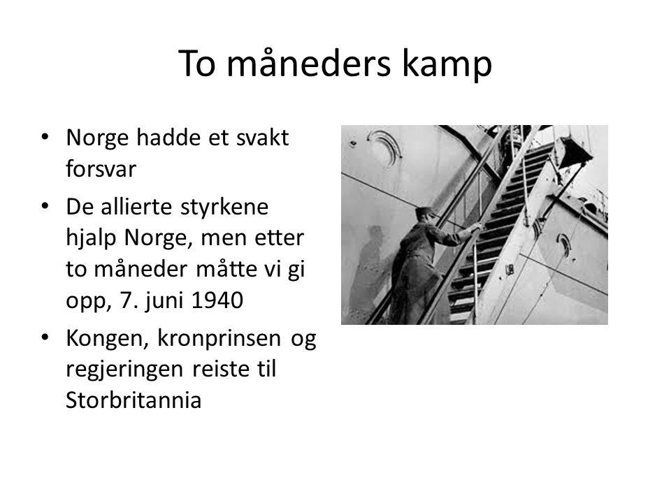 To måneders kamp Norge hadde et svakt forsvar De allierte styrkene hjalp Norge, men etter to måneder måtte vi gi opp, 7.