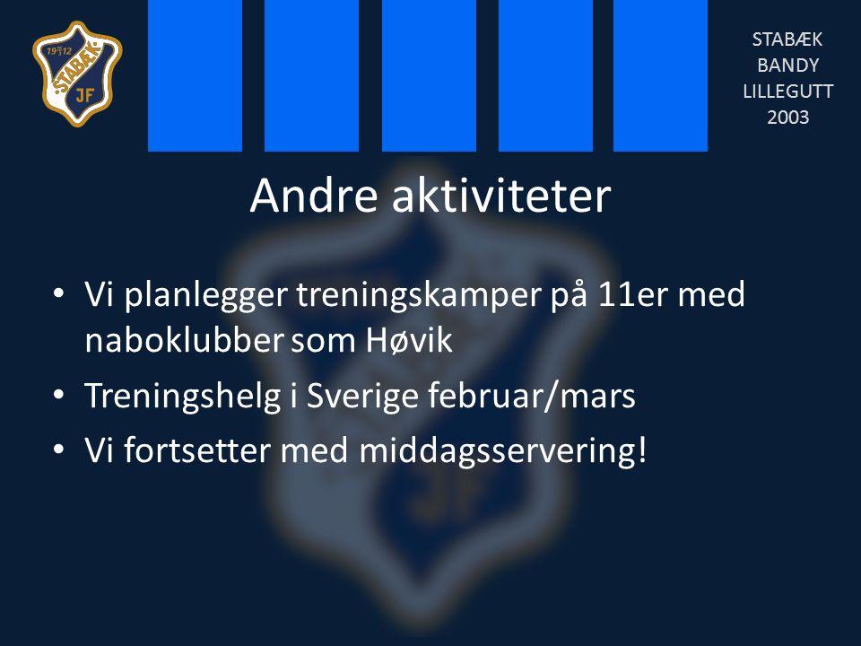 Andre aktiviteter Vi planlegger treningskamper på 11er med naboklubber som Høvik Treningshelg i Sverige februar/mars Vi fortsetter med middagsservering.