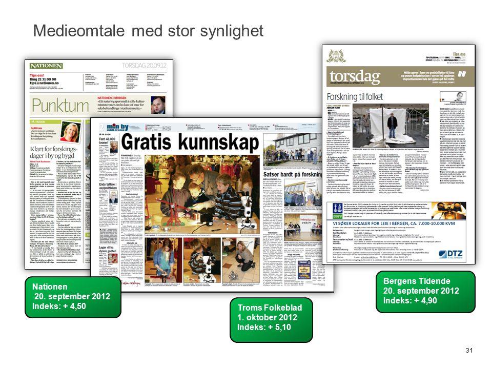 Medieomtale med stor synlighet 31 Bergens Tidende 20. september 2012 Indeks: + 4,90 Troms Folkeblad 1. oktober 2012 Indeks: + 5,10 Nationen 20. septem