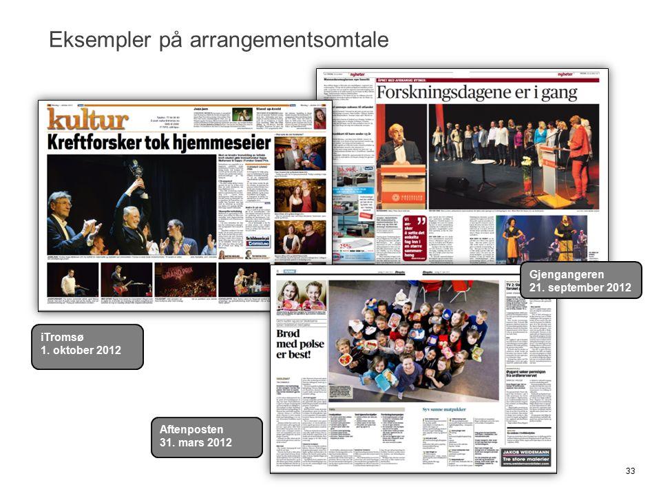 Eksempler på arrangementsomtale 33 iTromsø 1. oktober 2012 Gjengangeren 21. september 2012 Aftenposten 31. mars 2012