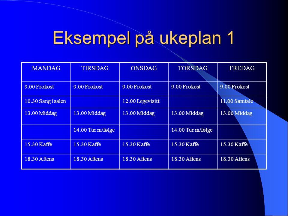 Eksempel på ukeplan 1 MANDAGTIRSDAGONSDAGTORSDAGFREDAG 9.00 Frokost 10.30 Sang i salen12.00 Legevisitt11.00 Samtale 13.00 Middag 14.00 Tur m/følge 15.30 Kaffe 18.30 Aftens