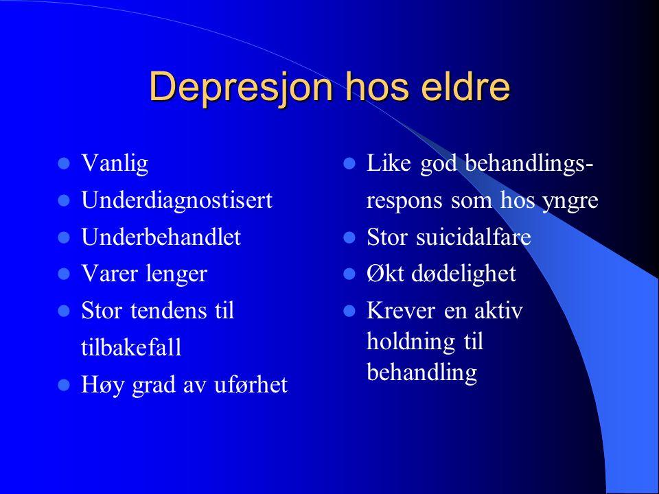 SYMPTOMER Nedsatt (eller økt) appetitt Søvnløshet eller økt søvnbehov Tap av interesse og glede Manglende energi/ tiltakslyst Sosial isolasjon/ tilbaketrekking Redusert selvfølelse og selvtillit, skyldfølelse Nedsatt konsentrasjon Mage-tarmproblemer (obstipasjon) Mimikkfattig, lang latenstid