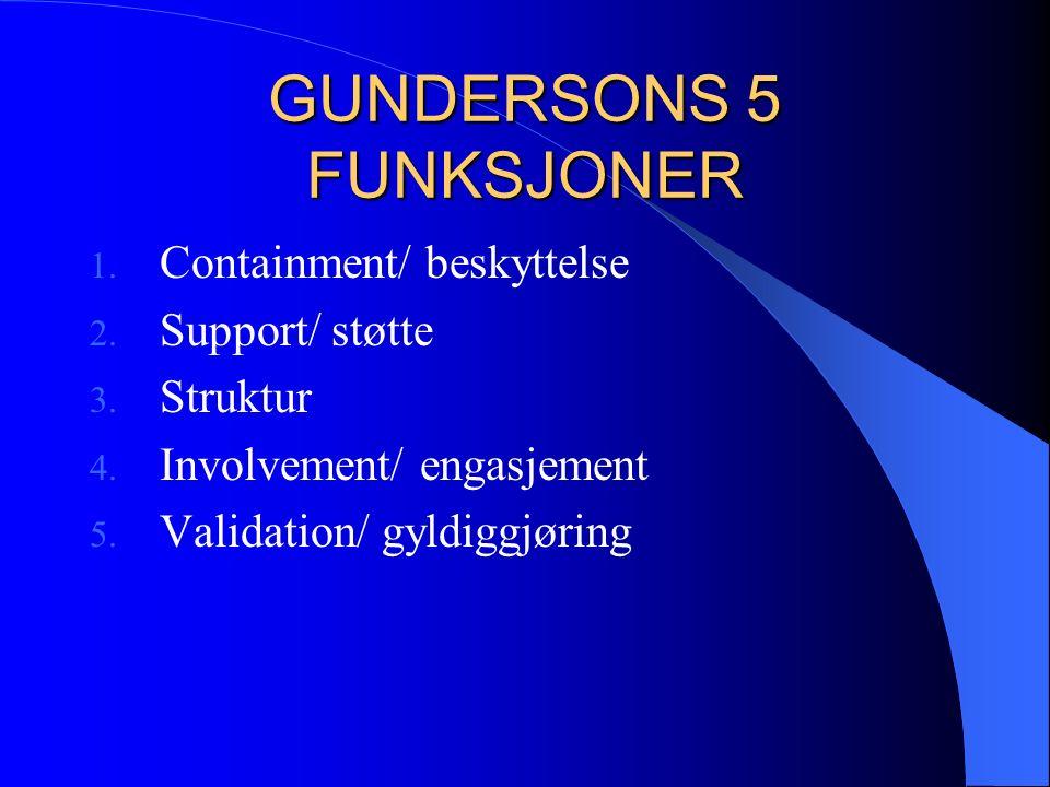 GUNDERSONS 5 FUNKSJONER 1. Containment/ beskyttelse 2.