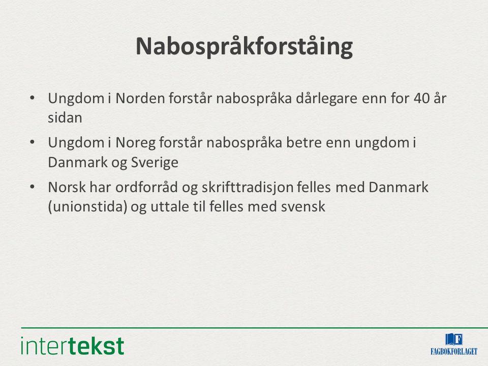 Nabospråkforståing Ungdom i Norden forstår nabospråka dårlegare enn for 40 år sidan Ungdom i Noreg forstår nabospråka betre enn ungdom i Danmark og Sv
