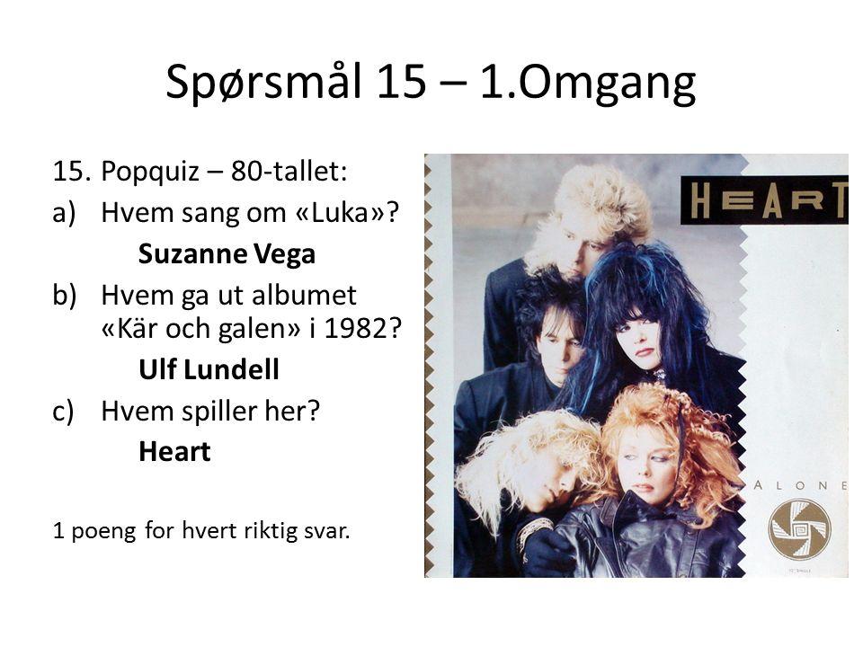 Spørsmål 15 – 1.Omgang 15.Popquiz – 80-tallet: a)Hvem sang om «Luka».