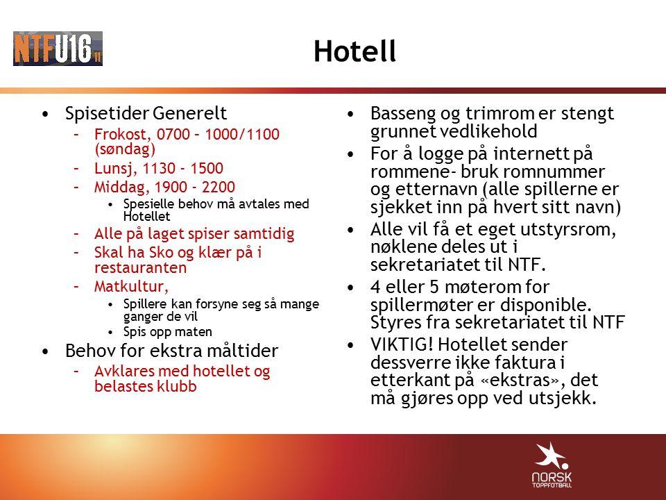 Hotell Spisetider Generelt –Frokost, 0700 – 1000/1100 (søndag) –Lunsj, 1130 - 1500 –Middag, 1900 - 2200 Spesielle behov må avtales med Hotellet –Alle