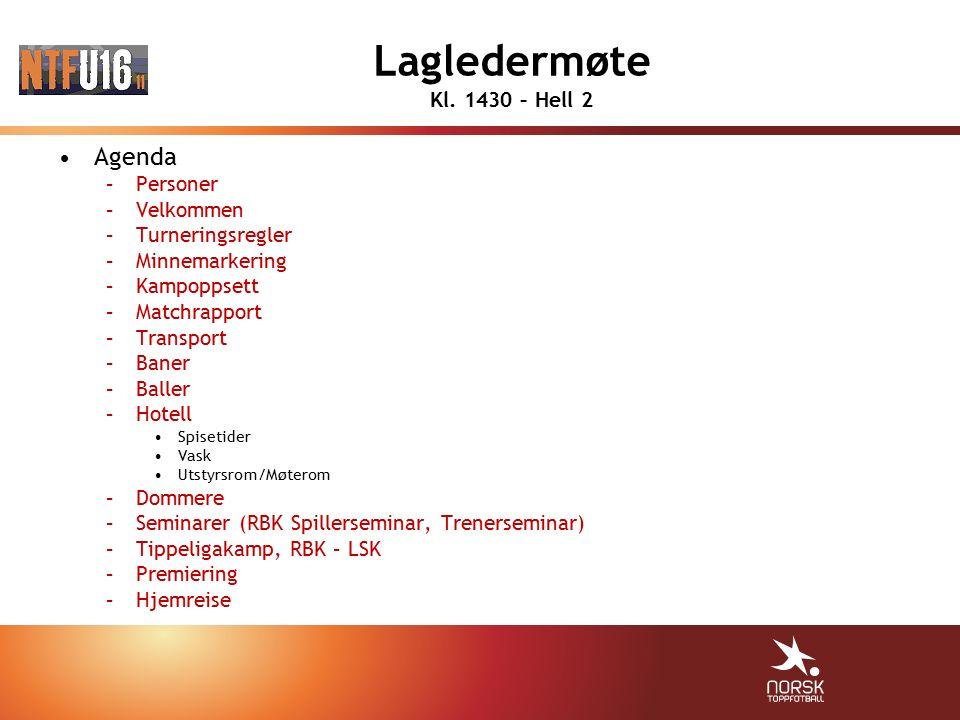 Lagledermøte Kl. 1430 – Hell 2 Agenda –Personer –Velkommen –Turneringsregler –Minnemarkering –Kampoppsett –Matchrapport –Transport –Baner –Baller –Hot