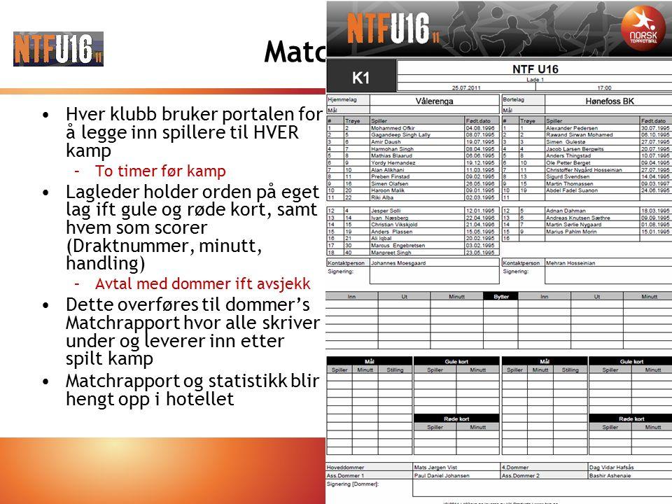 Matchrapport Hver klubb bruker portalen for å legge inn spillere til HVER kamp –To timer før kamp Lagleder holder orden på eget lag ift gule og røde k