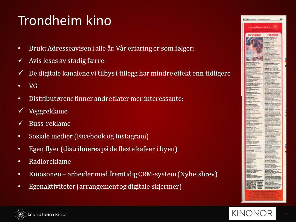 10 Trondheim kino Brukt Adresseavisen i alle år. Vår erfaring er som følger: Avis leses av stadig færre De digitale kanalene vi tilbys i tillegg har m