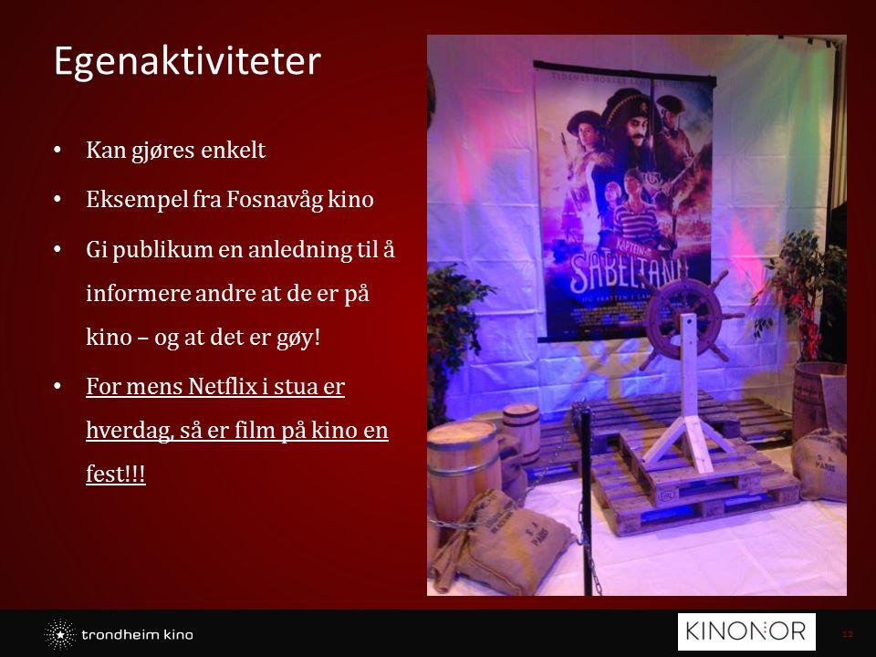 12 Egenaktiviteter Kan gjøres enkelt Eksempel fra Fosnavåg kino Gi publikum en anledning til å informere andre at de er på kino – og at det er gøy! Fo