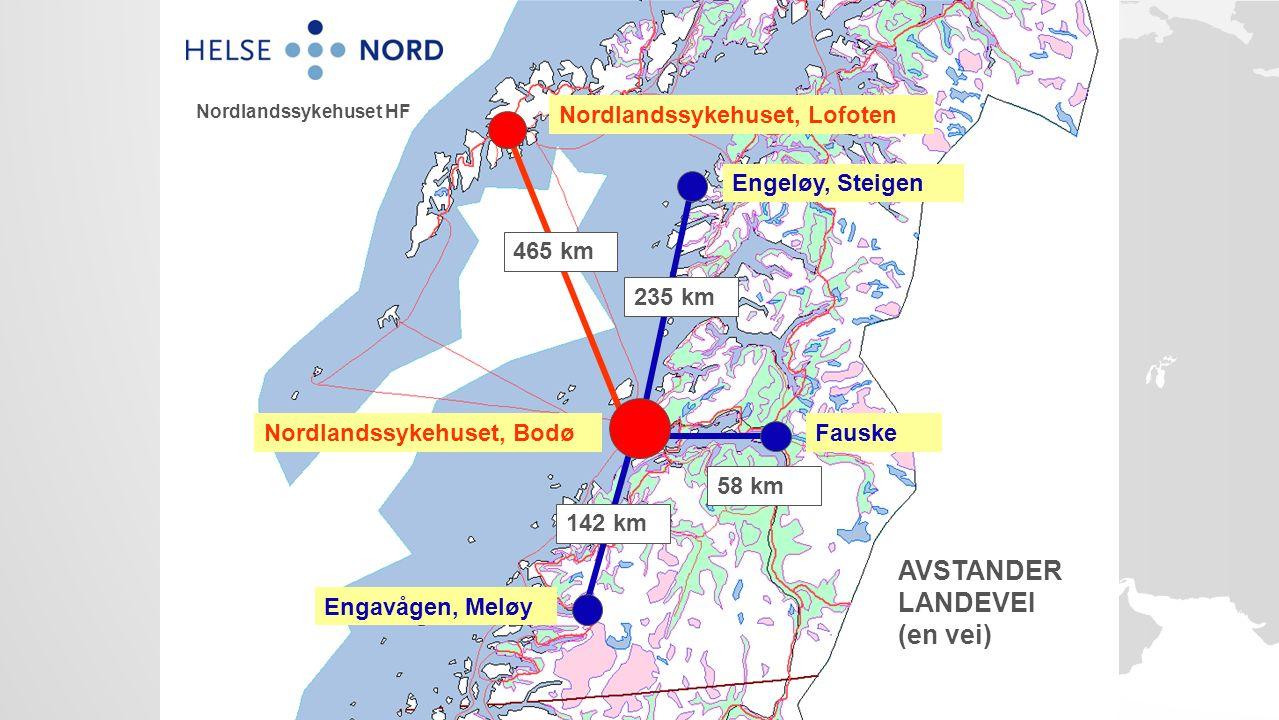 Nordlandssykehuset, Bodø Engeløy, Steigen 235 km Engavågen, Meløy 142 km Fauske 58 km AVSTANDER LANDEVEI (en vei) Nordlandssykehuset, Lofoten 465 km Nordlandssykehuset HF