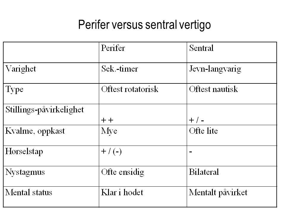 Perifer versus sentral vertigo