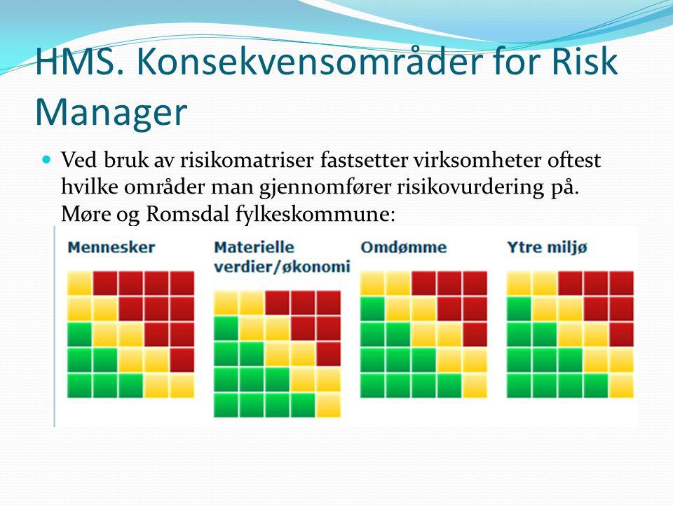 HMS. Konsekvensområder for Risk Manager Ved bruk av risikomatriser fastsetter virksomheter oftest hvilke områder man gjennomfører risikovurdering på.