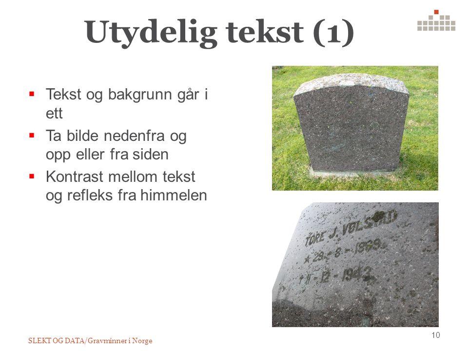 Utydelig tekst (1) 10 SLEKT OG DATA/Gravminner i Norge  Tekst og bakgrunn går i ett  Ta bilde nedenfra og opp eller fra siden  Kontrast mellom tekst og refleks fra himmelen