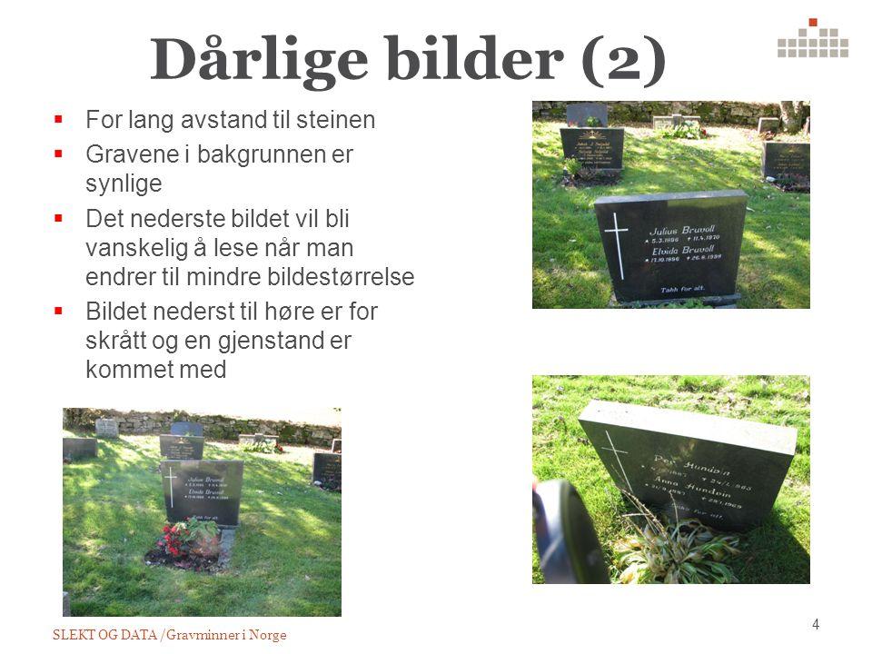 Dårlige bilder (2) SLEKT OG DATA /Gravminner i Norge 4  For lang avstand til steinen  Gravene i bakgrunnen er synlige  Det nederste bildet vil bli vanskelig å lese når man endrer til mindre bildestørrelse  Bildet nederst til høre er for skrått og en gjenstand er kommet med