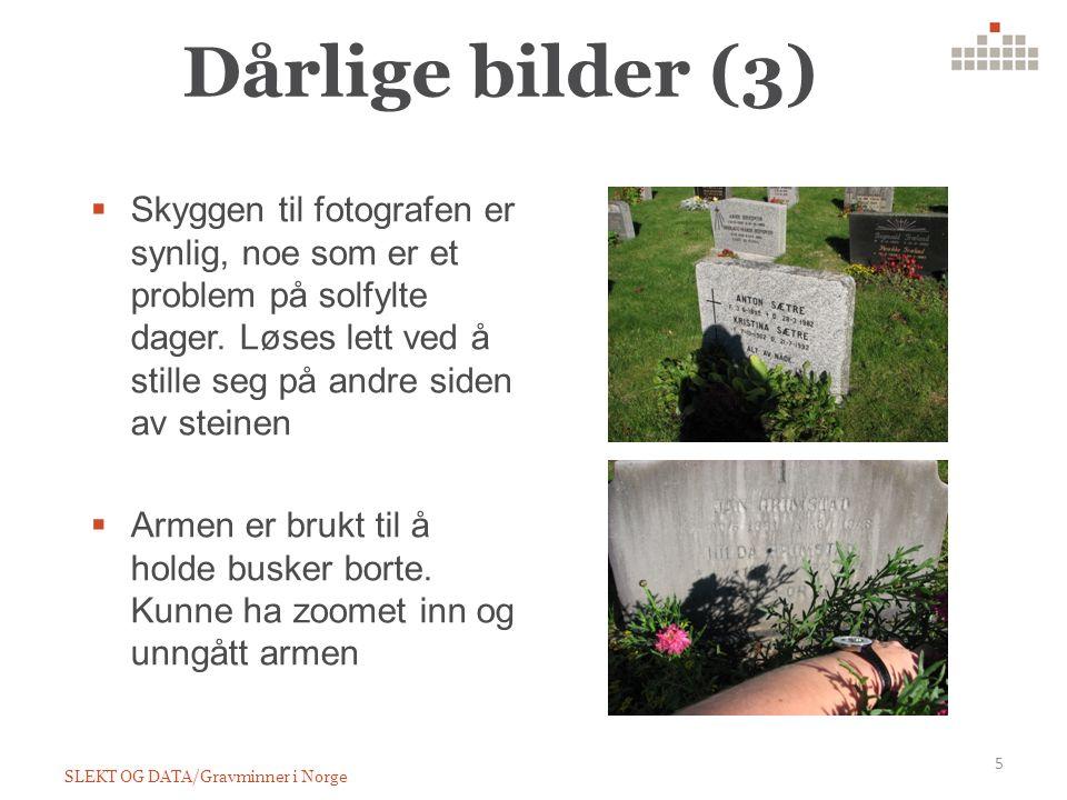 Dårlige bilder (3) SLEKT OG DATA/Gravminner i Norge 5  Skyggen til fotografen er synlig, noe som er et problem på solfylte dager.