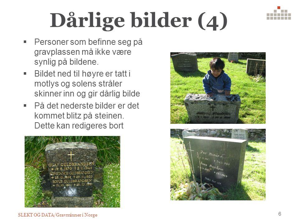 Dårlige bilder (4) SLEKT OG DATA/Gravminner i Norge 6  Personer som befinne seg på gravplassen må ikke være synlig på bildene.