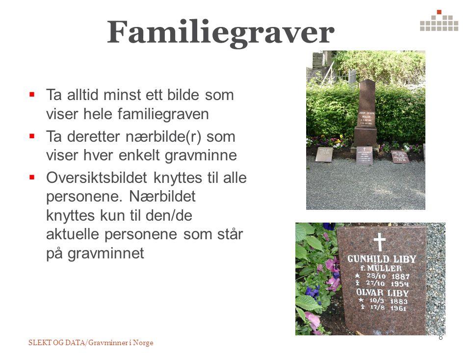 Familiegraver SLEKT OG DATA/Gravminner i Norge 8  Ta alltid minst ett bilde som viser hele familiegraven  Ta deretter nærbilde(r) som viser hver enkelt gravminne  Oversiktsbildet knyttes til alle personene.