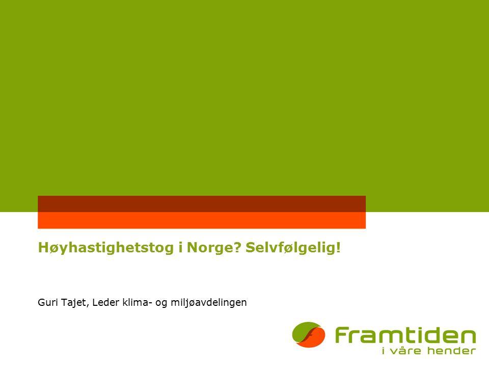 Høyhastighetstog i Norge Selvfølgelig! Guri Tajet, Leder klima- og miljøavdelingen