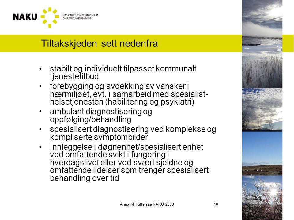 Anna M. Kittelsaa NAKU 2008 10 Tiltakskjeden sett nedenfra stabilt og individuelt tilpasset kommunalt tjenestetilbud forebygging og avdekking av vansk