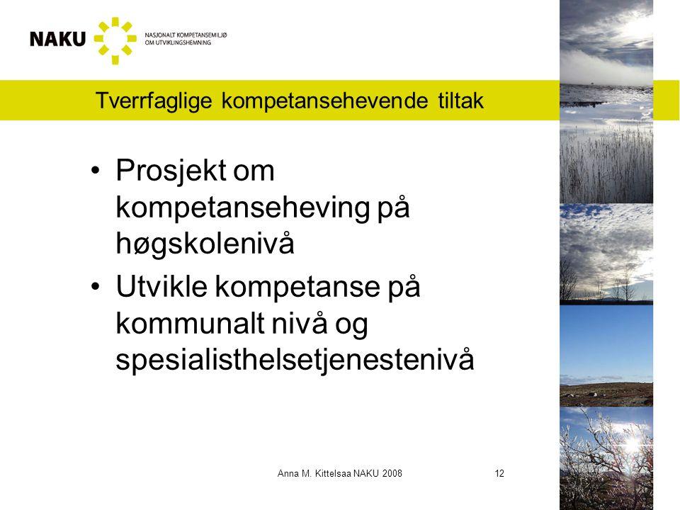 Anna M. Kittelsaa NAKU 2008 12 Tverrfaglige kompetansehevende tiltak Prosjekt om kompetanseheving på høgskolenivå Utvikle kompetanse på kommunalt nivå