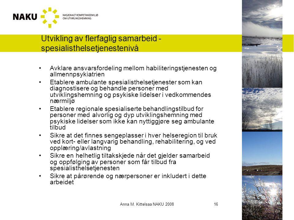 Anna M. Kittelsaa NAKU 2008 16 Utvikling av flerfaglig samarbeid - spesialisthelsetjenestenivå Avklare ansvarsfordeling mellom habiliteringstjenesten