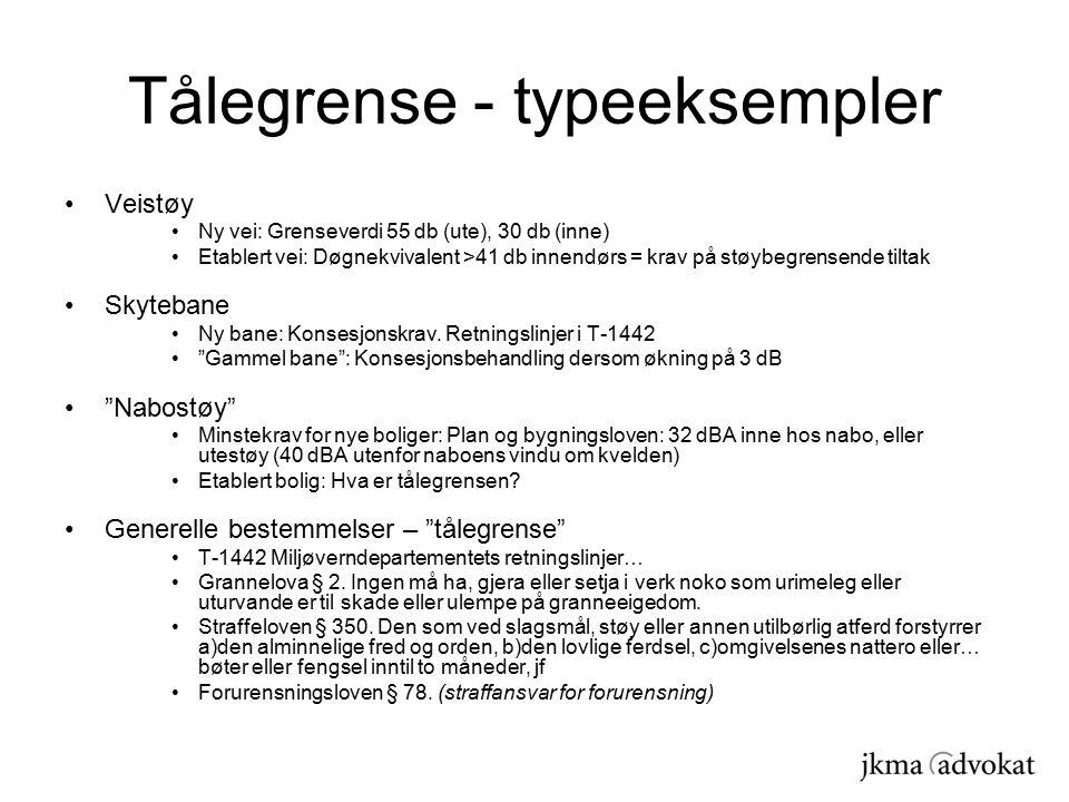 Tålegrense - typeeksempler Veistøy Ny vei: Grenseverdi 55 db (ute), 30 db (inne) Etablert vei: Døgnekvivalent >41 db innendørs = krav på støybegrensende tiltak Skytebane Ny bane: Konsesjonskrav.
