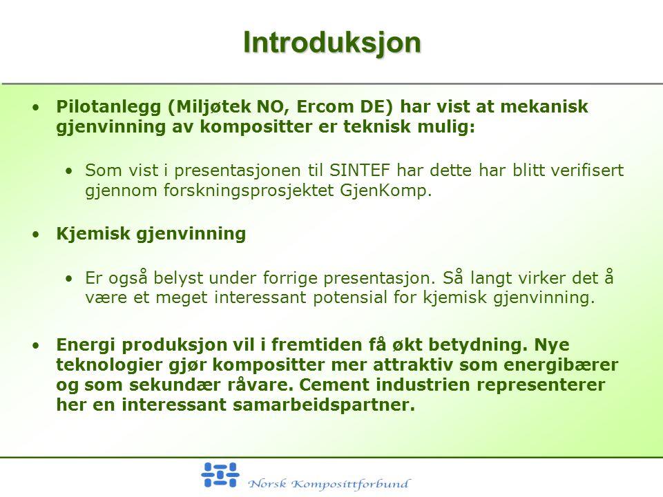 IntroduksjonIntroduksjon Pilotanlegg (Miljøtek NO, Ercom DE) har vist at mekanisk gjenvinning av kompositter er teknisk mulig: Som vist i presentasjonen til SINTEF har dette har blitt verifisert gjennom forskningsprosjektet GjenKomp.